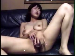 horny asian gf plays with bottle untill