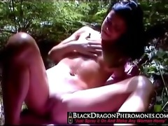 chinese hottie fingering in the woods