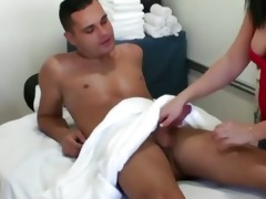 oriental masseuse rubs and sucks her lucky client