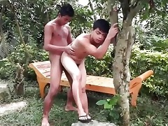 brown oriental gals outdoor bareback playtime