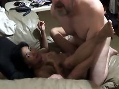 hubby bonks oriental wife and cumms in her