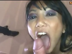sexy thai bukkake cumslut sucks dick
