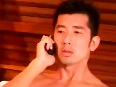 concupiscent oriental dude jerks off in the motel