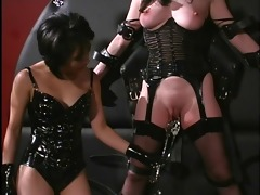 oriental female-dom playing with the slave&s