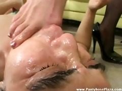 femdom-goddess dominates villein by feet as he is