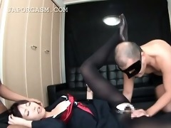 aroused oriental schoolgirl engulfing rods at one