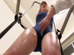 japanese cutie in swimsuit being drilled
