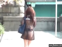 japanese angel flashing body in public place