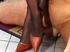 footjob stiletto chap humiliation nylon
