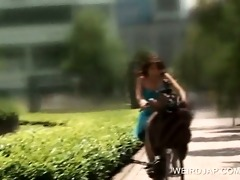 legal age teenager oriental redhead riding the