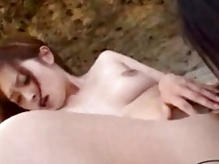 oriental beauty giving a kiss getting her tits