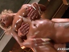 oily oriental golden-haired acquires cum in all