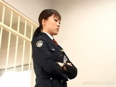 nasty oriental police woman wet crack licked by