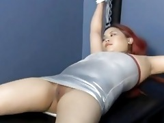 oriental redhead slave receives hooked...