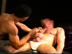 sexy hung smooth muscle dude has balls punched