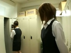 japanese chicks in uniform giving a kiss 4