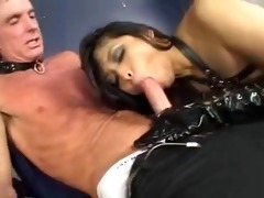 oriental beauty in dark leather threesome
