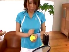 oriental girl in tennis suit giving blowjob on