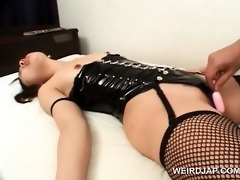 japanese perverted whore in fishnets enjoying fur