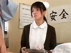 oriental nurse receives wet crack gangbanged by