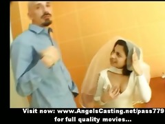 hot dark brown indian bride talking with a boy