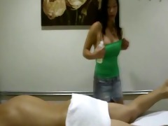 real oriental masseuse engulfing and tugging for