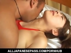 erena kurosawa in red fishnet sucks a knob