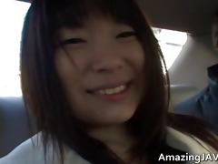 breasty oriental having enjoyment in a car
