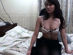 busty rin matsuura in darksome pantyhose caressed