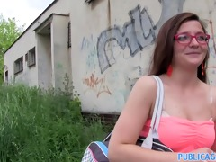 publicagent brunette hair in glasses spit roasted