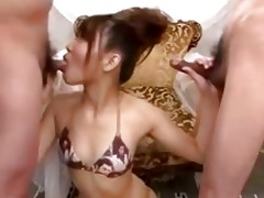 cute japanese gal strokes cocks and blows very