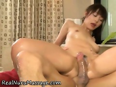 cute asian masseuse copulates client