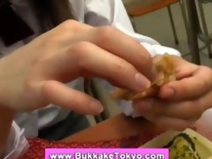 bukkake slut likes food with cum
