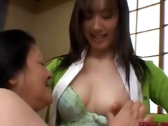 older oriental woman licking and fingering