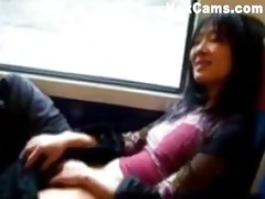 ballsy asian gal rubs one out on subway