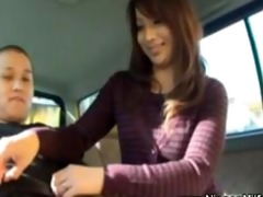 japanese d like to fuck gives tugjob on backseat