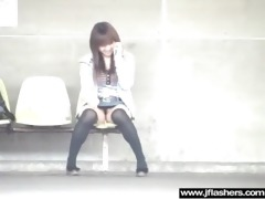 japanese gal flashing in public and banging hard