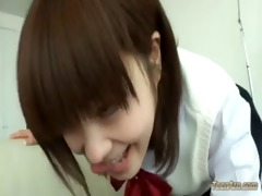 youthful schoolgirl giving fellatio for chap on