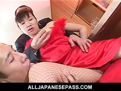 japanese mother i in a red evening gown drilled