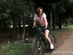 japanese legal age teenager hotty rides bike with