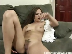 cute oriental chick lubricates her sex toy by her