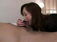 excited miyama ranko gives her chap a tongue