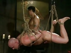 shaved homosexual stud tortured by asian hunk
