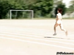 undressed japanese cutie doing track running part4