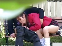 wicked schoolgirl outdoor bench sex festival