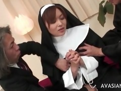 marvelous oriental nun receives banged