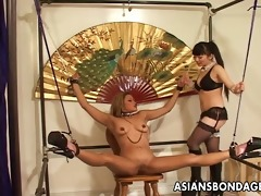 restrained oriental playgirl tormented by her