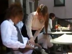 cute japanese waitress gives cook jerking in