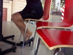 candid oriental nylon feet shoeplay in cafe
