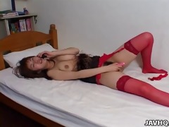 gracious japanese hotty in red stockings